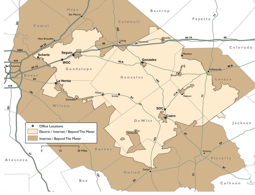 GVEC Service Area Map