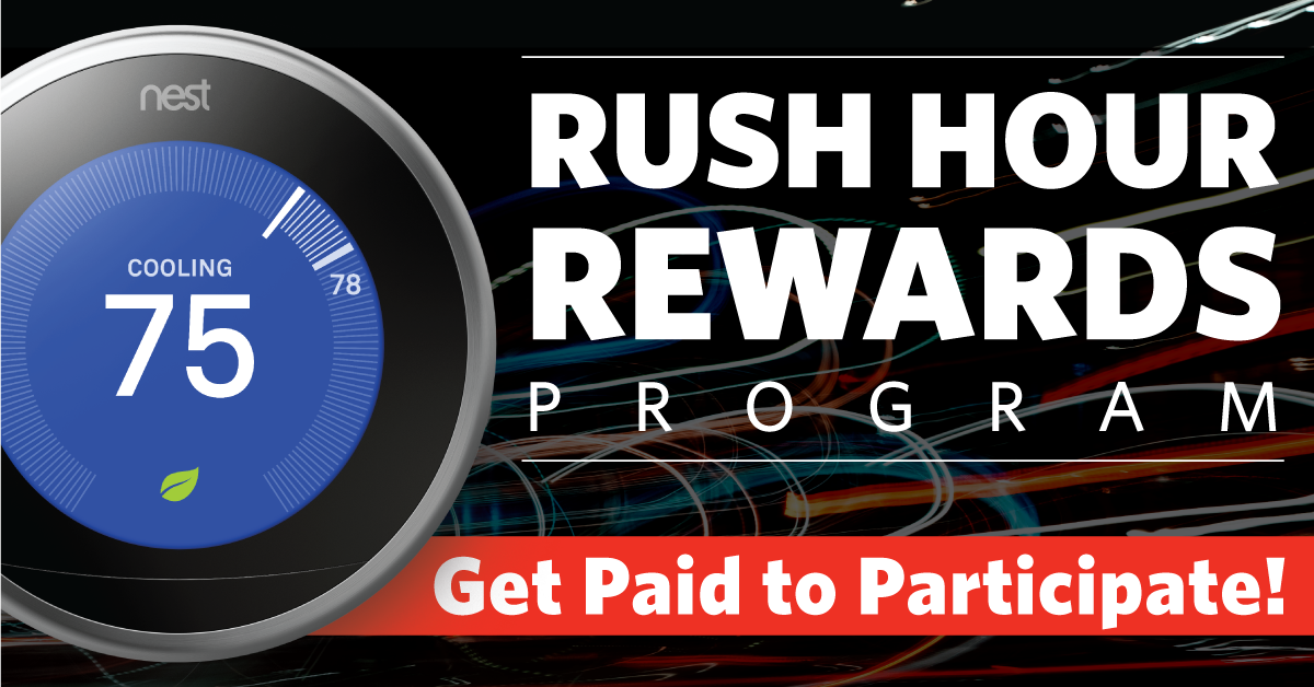 GVEC Rush Hour Rewards Demand Response Program Illustration - Get paid to participate