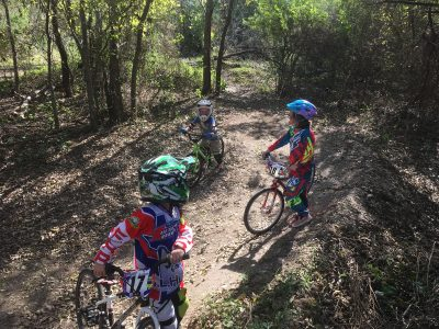 Kids riding the trail