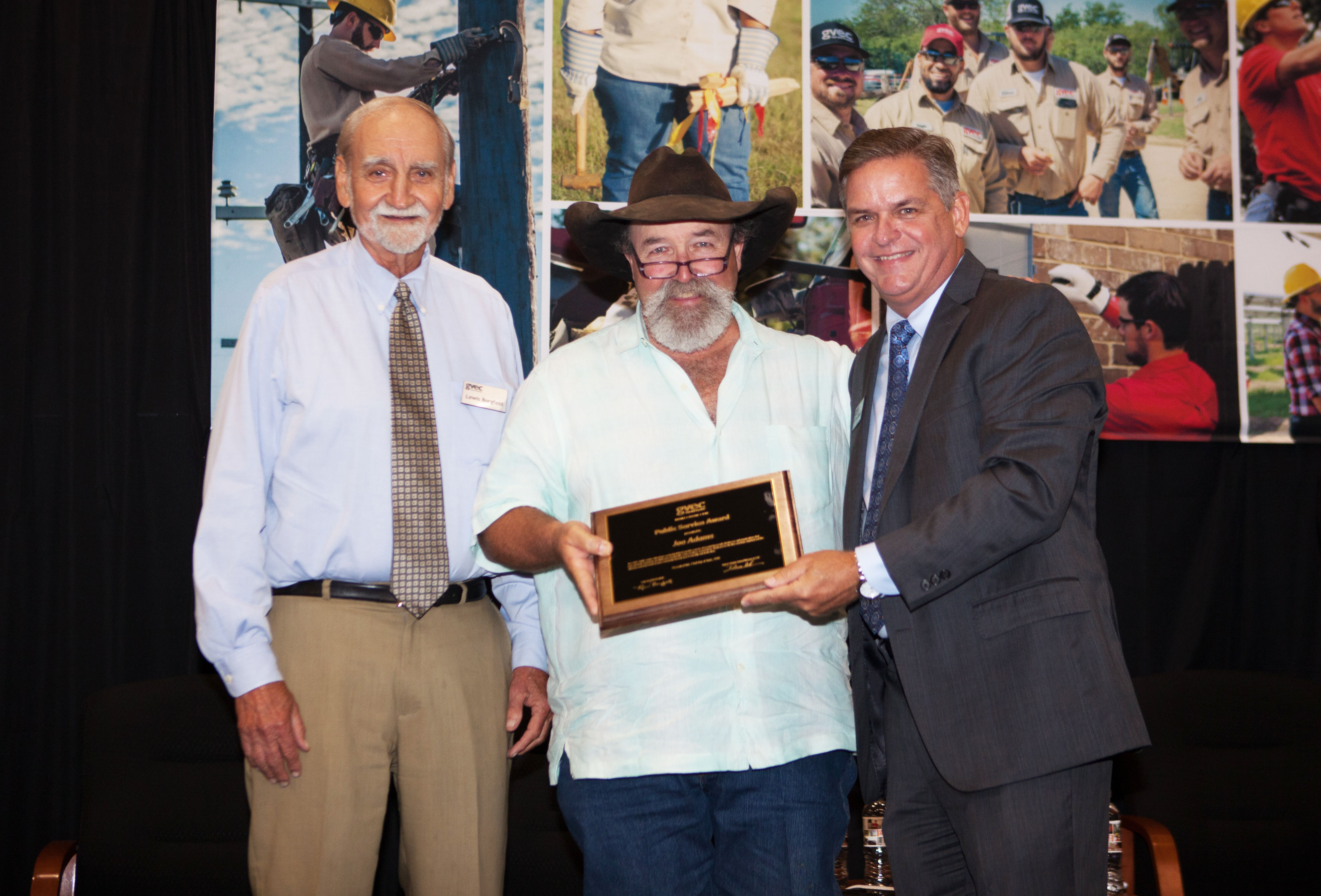 Joe Adams is presented with GVEC's Public Service Award for 2018