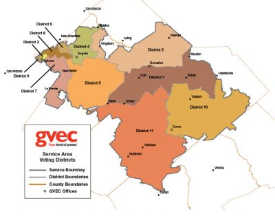 A Map Graphic of GVEC's Service Territory, GVEC District Meeting Map