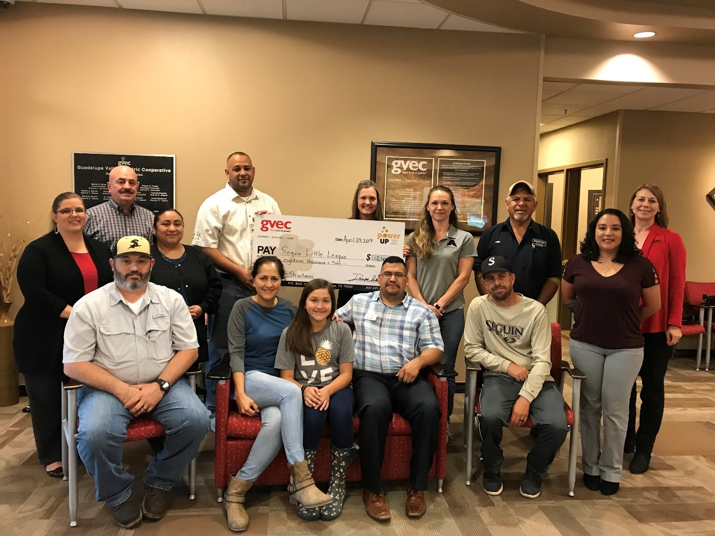 Seguin Little League accepts Power Up grant for $18,000.