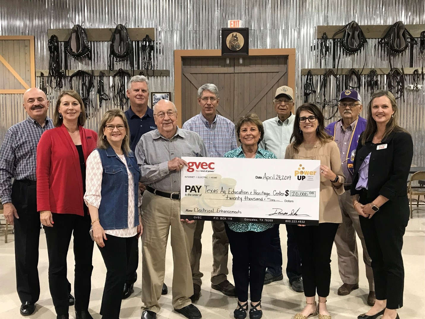 The Texas Agriculture Education and Heritage Center, Seguin, accepts Power Up grant for $20,000.
