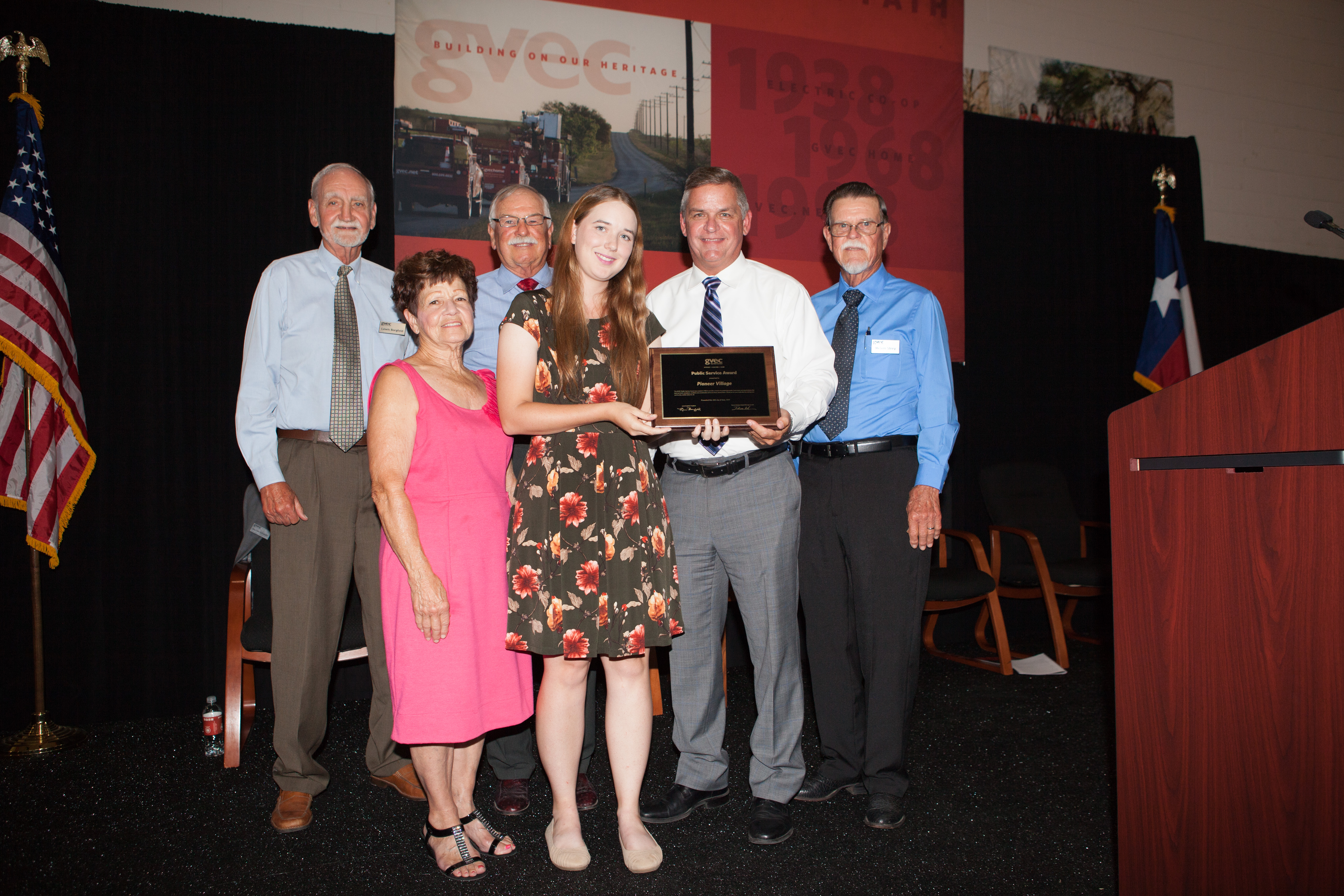 Pioneer Village is presented with GVEC's Public Service Award for 2019