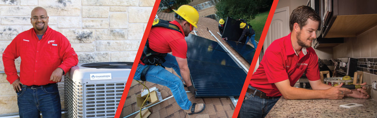 GVEC Home Solar Installers with panels on a roof, a GVEC Home AC/heating technician smiling in front of a condensing unit, and a GVEC Home electrician installing an outlet in a kitchen