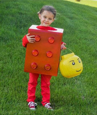 Picture of a little girl dressed in a Lego Halloween Costume, Homemade Halloween Costume