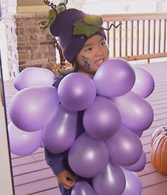 Picture of a little girl dressed in a purple grapes homemade Halloween Costume
