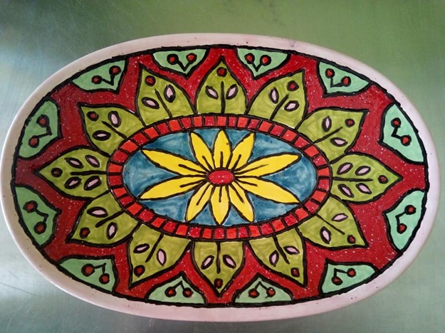 Purple Cactus Potteri Panted Platter
